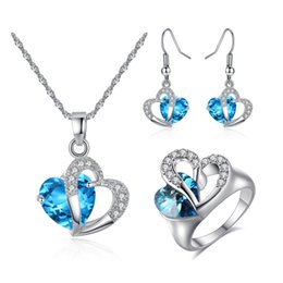 Wholesale Fashon Rings - New Fashon Elegant Bride Jewelry Set White Gold Plated 3 in 1 Blue Crystal Heart Earrings Necklace Ring Necklace for Girls Women for Party