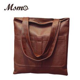 Wholesale Cheap Female Handbags - Wholesale- Female Bag Vintage Soft Leather Bag Cheap Big Bag Women's Famous Brand Handbag City Tote Sac A Main Femme Dollar Price