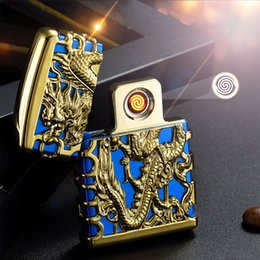 Wholesale Dragon Lighters - Wholesale Chinese Style Hollowed Dragon Electric Wire Flameless Cigarette USB Lighter with Charging Cable and Gift Box