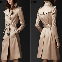 Wholesale Double Breast Coat Women - England woman trench coats Spring and Autumn long winter outwear coat double row buckle Slim max-long winter outwear windbreaker for women