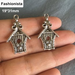 Wholesale Tibetan Bird Pendant - 60 Birdhouse Charm,Bird Nest Charms Pendant Tibetan Silver Cute Animal Jewelry Bird Lover Gift Decor 19*31mm