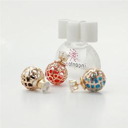 Wholesale Woman Stainless Steel Earings - 2017 NEW Hollow Zircon Crystal Pearl Earrings Brand New Korean Double Pearl Earings Crystal Ball Earings for Women