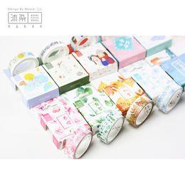 Wholesale Pcs Song - Wholesale- 2016 20 pcs lot DIY Japanese Paper Decorative Adhesive Tape Cartoon four seasons song series Washi Tape Masking Tape Stickers 1
