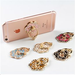 Wholesale Gold Diamond Bands - Phone ring ring metal band diamond ring buckle back stickers lazy mobile phone frame cartoon stent