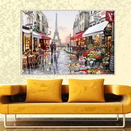 Wholesale Cross Stitch Print - YGS-557 DIY 5D Partial Diamond Embroider The city Round Diamond Painting Cross Stitch Kits Diamond Mosaic Home Decoration