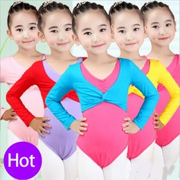 Wholesale Ballet Practice Wear - Girls Dance Wear Ballet Practice Dancewear Dress Crop Top Kids Child Dance Clothes Ballet Leotard Wrap Shrug