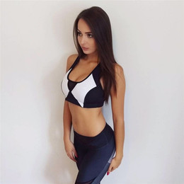 Wholesale Sequin Short Bra - Mesh Women's Running Set Black White Print Sports Bra And Pants Fitness Bra Suits Tank Tops Workout Capris Set Jogging Gym Suits HGE