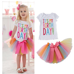 Wholesale girls princess tee shirts - Girls Birthday T-Shirts Tutu Skirts Suits Outfits Princess Short Sleeve Letter Tops Tees TUTU Skirts Party Clothing Sets 1-5 Years Old