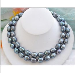 """Wholesale Rare Pearls - NOBLEST RARE NATURAL 12-15MM SOUTH SEA BLACK BLUE PEARL NECKLACE 35"""" GOLD CLASP"""