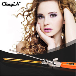 Wholesale Compact Machines - wand CkeyiN Fashion 9MM Deep Curly Hair Styler Curls Ceramic Iron Wave Machine Pro Spiral Hair Curler Rollers Curling Wand 27
