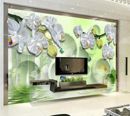 Orchidea 3d online-All'ingrosso-Personalizzato 3d carta da parati per pareti 3d foto carta da parati murales Argento bianco orchidea sogno 3D TV sfondo carta da parati soggiorno carta da parati