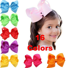 Wholesale Grosgrain Ribbon Boutique - 5inch high quality grosgrain ribbon baby boutique hair bows WITH CLIP for children hair accessories