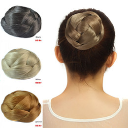Wholesale Synthetic Remy - Sara Woman Chignon Hair Bun Clip Synthetic Hair Pieces 10*6CM 61g Hairpiece Black Brown Donut Braided Chignon Buns Top Quality Non-remy Hair
