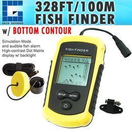 Wholesale Ice Fishing Lcd Fish Finders - FF-1108-1 Portable Sonar LCD Fish Finder Fishfinder Alarm 100M Beam Transducer AP Ice Fishing 12M Cable Detects Weeds Grass Rock