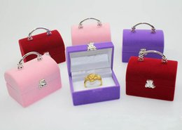 Wholesale Velvet Ring Box Case - Purple Red Pink Wedding Ring Gift box Jewelry organizer jewel case jewelry gift box new style for christmas free shipping