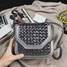 Wholesale Mini Knits - 2017 Top qualituy Stella bag Falabella Box Mini Wicker Metallic chains shoulder bag knitting Cowhide leather Crossbody Bag
