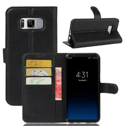 Wholesale A3 Leather - For Samsung Galaxy S8 Plus 2017 A3 A5 A7 J3 Prime J1 mini Litchi Skin Flip Wallet Card Leather Case Stand Holder Cover 1PCS