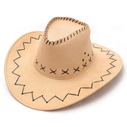 Wholesale Vintage Cowboy Hats - Vintage Men's Western Cowboy Faux Suede Leather Hat Wide Brim Costume Cap Hats 8 colors 10pcs lot