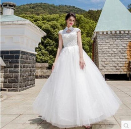 Wholesale Model Dress Cheongsam - 2017 Cheap Luxury Wedding Dress Chinese Style In Cheongsam A Line High Neck Lace-up Back Sweep Train Country Vintage Elegant Bridal Gown