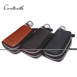 Wholesale American Car Classics - CONTACT'S Classic New Double Zip Men's Genuine Cow Leather Car Key Holder Multifunction Housekeeper High Class Motor Key Case
