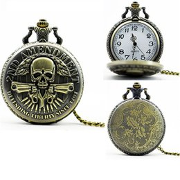 Wholesale Antique Pocket Watches Skull - Bronze Mens Gun Skull pocket watches Vintage necklace watch 2nd AMENDMENT DEFENDING LIBERTY SINCE 1791 Army alloy chain pocket quartz watch