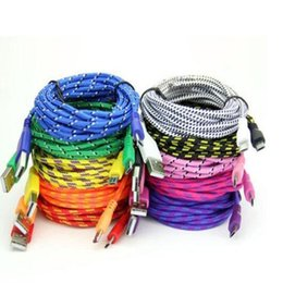 Wholesale Sale S4 - hot sale !500pcs 1M 2M 3M 10FT Fabric Nylon Micro 5 pin USB Mobile Phone Charger Cable For Samsung Galaxy S3 S4 HTC One X Android phone
