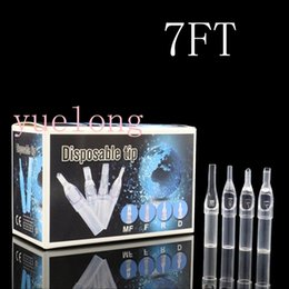 Wholesale Disposable Tattoo Tubes Clear - Wholesale-100pcs Newest Disposable Short Tattoo Tips 7ft Clear Plastic puntas mflat Tattoo Tips Tubes 7ft Sterile Assorted free shipping