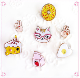 Wholesale Metal Clothes Pins - Wholesale- Free Shipping Cartoon Cute Cat Doughnut Cake Milk Egg Hands Metal Brooch Pins Button Pins Clothes Decoration Gift Wholesale