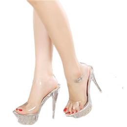 Wholesale High Heels Transparent Platform - 14 cm sexy ultra high heel 4cm platform Crystal sandals Pvc Transparent Model Show shoes Stilettos bar Wedding plsu size 43