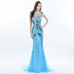 Wholesale Diamond Mermaid Prom - Exquisite Sweetheart Sweep Train Evening Dress Diamond shoulder Sequin Mermaid Prom Dresses See Through Zipper Back Custom Made Formal Dress