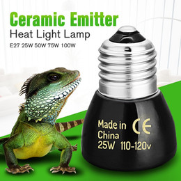 Wholesale Wholesale Ceramic Heat Emitter - 2017 New High Quality Black E27 25W 50W 75W 100W Mini Infrared Ceramic Emitter Heat Light Lamp Bulb For Reptile Pet Brooder 110V 220V