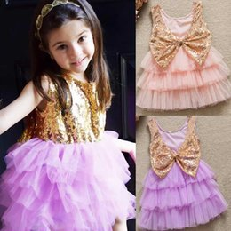 Wholesale Tank Dress For Girls Wholesale - Baby Girls Big Bow Bling Dresses 2017 INS Sequin Lace Tutu Tank Dress For Kids Summer Children Clothing Gifts PX-D20