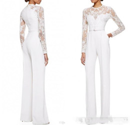 Wholesale women wear spring - 2018 new White Mother Of The Bride Pant Suits Jumpsuit With Long Sleeves Lace Embellished Women Formal Evening Wear Custom Made 117