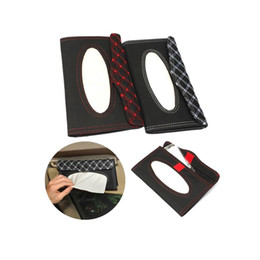 Wholesale Wholesale Leather Tissue Box Holders - Wholesale- Car Styling Car Sun Visor Tissue Paper Box Case Auto Interior Decoration Accessories Holder Napkin Clip PU leather
