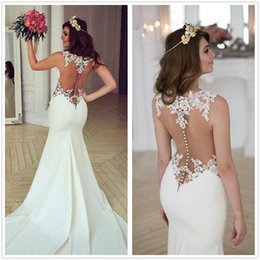 Wholesale New Covered Mermaid Wedding Dresses - 2017 New Sexy Illusion Satin Mermaid Wedding Dresses Sleeveless Tulle Lace Applique Vestios De Novia Wedding Bridal Gowns With Buttons