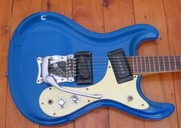 Wholesale Guitars Pickups - Johnny Ramone Signature Mosrite Venture 1966 Metallic Blue Electric Guitar Bigs Tremolo Bridge Dark Aqua White Pickupgard P-90 Pickups