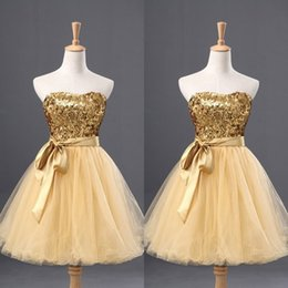 Wholesale Dreses Sequins - Cheap Homecoming Dress with Sash Slight Sweetheart Neck Shiny Sequined Fabric Bodice Tull Skirt Gold Dreses for Graduation
