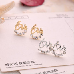Wholesale 14k White Gold Emerald Earrings - 2017 Selling creative earrings super flash drill English LOVE letter earrings earrings small jewelry Retail and wholesale