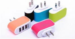 штепсельная вилка Скидка US EU Plug 3 USB Wall Chargers 5V 3.1 A LED Adapter Travel удобный адаптер питания с тройными USB-портами для мобильного телефона ( 5 цветов ) stock