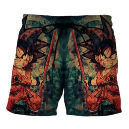 Wholesale Kid Vegeta - Dragon Ball Z Men's Summer Casual Shorts Super Saiyan 4 Vegetto Kid Son Goku Vegeta Dragonball 3D Print Beach Shorts Plus Size