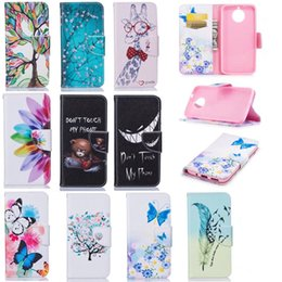 Wholesale Giraffe Butterfly - For Sony E6 L1 Flip Wallet Leather Case For MOTO G6,G6 PLUS Flower Sunflower Feather Butterfly Don't Touch My Phone Giraffe Case Skin Cover