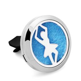 Wholesale Elegant Dance - 5PCS Silver Elegant Dance Car Perfume Locket Pendant 30MM 316L Stainless Steel Essential Oil Diffuser Perfume Locket With Free Pads