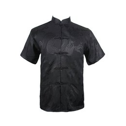 Wholesale Chinese Collar Black Shirts - Wholesale- Dragon Black Summer New Chinese Men's Silk Satin Kung Fu Shirt Top with Pocket Size S M L XL XXL XXXL Free Shipping 020623