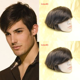 Wholesale Human Hair Toupee For Men - Fastion Men's wigs 7x9inch mono lace Men's toupee 100% human hair replacement Indian hair toupee Wig#1B Color no shedding no tangle For men