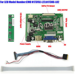 Wholesale Vga Lvds Controller - Freeshipping HDMI VGA 2AV Controller Board + 40 Pins Lvds Cable Kits for N173FGE-L23 N173O6-L02 1600x900 2ch 6 bit LCD Display Panel