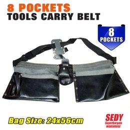 Wholesale Original Ganzo - Wholesale-SEDY Electrician 8 Pocket Carry Belt Tool Bag Leather Utility Kit Holder leather Bags leather 100 Original Men 100ml Ganzo