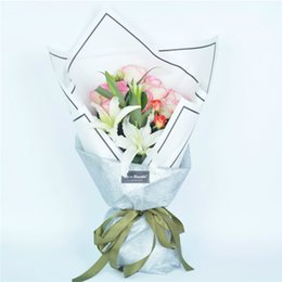 Wholesale Paper Packaging Supplies - Fashion Simple Lines Border Flowers Packaging Paper Materials Bouquet Gift Florist Bouquet Supplies Wrapping Paper 10pcs lot