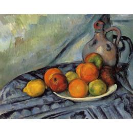 Pinturas a óleo paisagens frutas on-line-Pinturas modernas paisagens frutas e jarro em uma mesa-Paul Cézanne óleo de reprodução de lona pintados à mão
