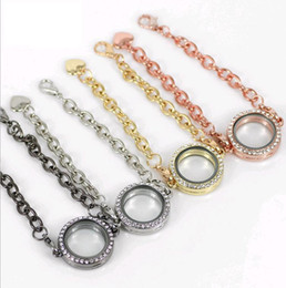Wholesale Crystal Magnetic Clasp Chain - 10pcs Crystal Rhinestone Round Magnetic Circle Living Memory Locket Bracelet For Floating Charms Heart Lobster clasp Mix 4colors