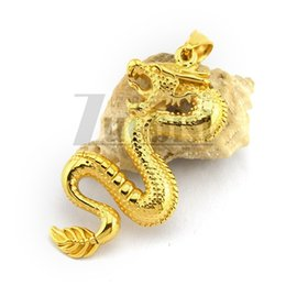 Wholesale Dragon Power - Golden Plated Stainless Steel China Ancient Dragon Pendant Symbol of Power and Auspicious Good Quality